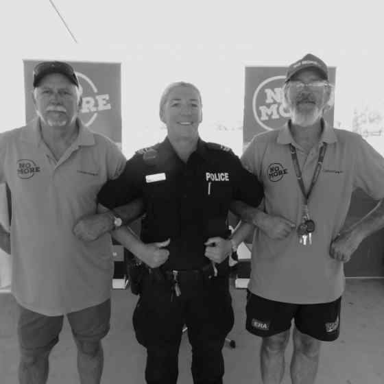 NO MORE Campaign workers Roy and Stan link up with NT Police Officer Jenny Hamiliton.