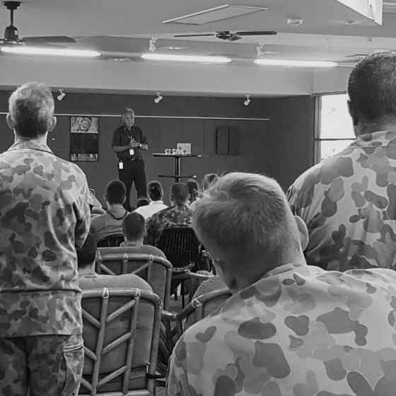 Charlie talks to Army personnel at Robertson Barracks about how family violence links in with mental health on R U Ok? day.