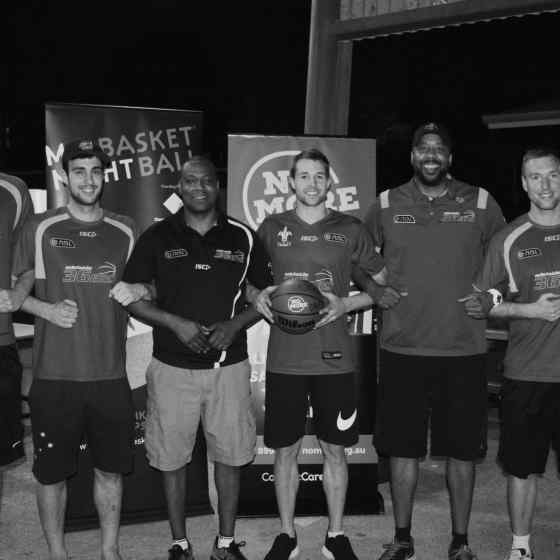 Players and coaches from Adelaide 36ers link up to say NO MORE family violence.