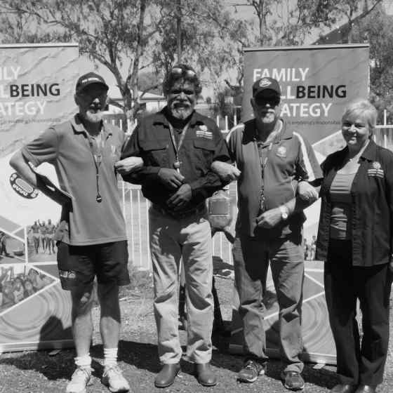 Roy and Stan link up with Central Desert Regional Council CEO Cathryn Hutton and Vice President Norbert Patrick at the Family Well Being Strategy Launch in Alice Springs.