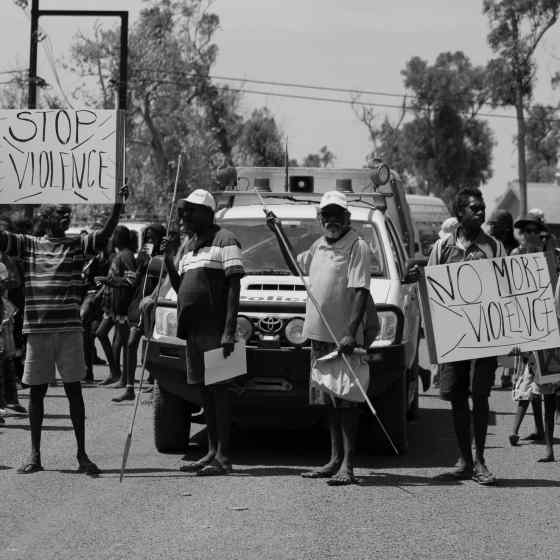 The people of Galiwinku march against family violence.