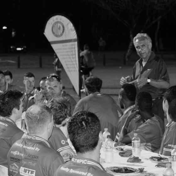 NO MORE campaigner Charlie King talks to Darwin Olympic SC at their pasta dinner night about family violence.