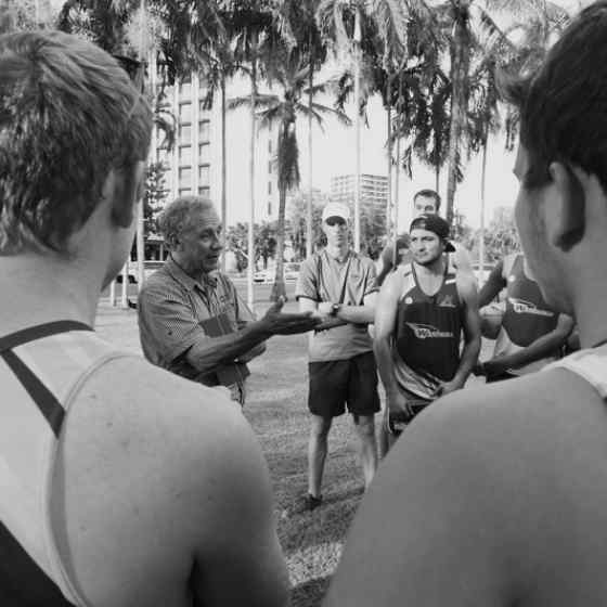 Charlie explaining No More and Dvaps to NTFL premiers Wanderers