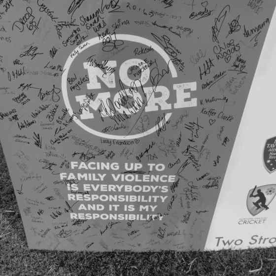Players from each of the teams were asked to sign this pledge to show that they are committed to doing something to reduce family violence.