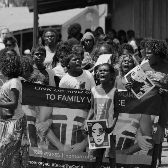 School children shout out 'NO MORE family violence'