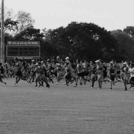 Men, women and children all training together on the same oval.
