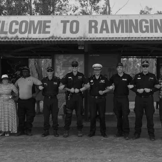 Charlie links up with Police Commissioner Reece Kershaw, Former Australian of the Year Rosie Batty and NT Police offers at Ramingining.