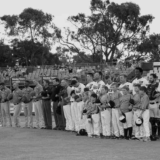 Perth Heat, Canberra Cavalry and umpires link up to say NO MORE to family violence. Photo Credit: Wendy De'Souza