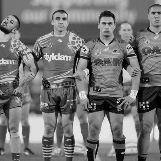 Eels and Panthers linking up in support of the NO MORE campaign during their match at TIO Stadium on 8 August, 2015.