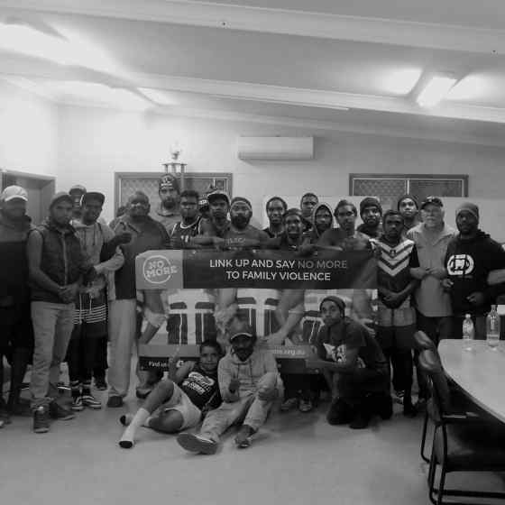 NO MORE Campaign workers delivered a family violence education session to Ltyentye Apurte FC .