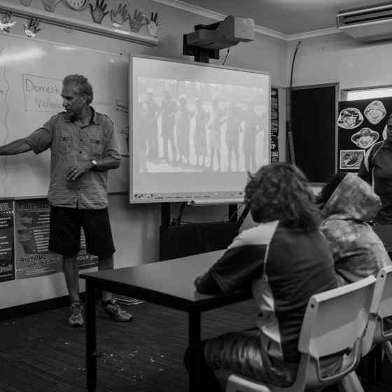 Charlie speaks to children at the school about family violence and how they can help break the cycle of violence. Photo Credit: NT Police