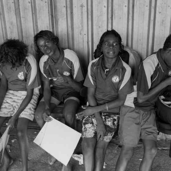 Maningrida school students waiting for the community march to begin. Photo Credit: NT Police