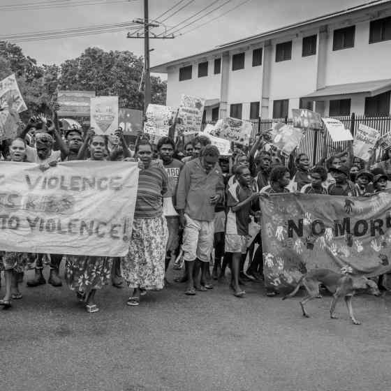 A community march took place through the street of Maningrida with people chanting 'NO MORE family violence'. Photo Credit: NT Police