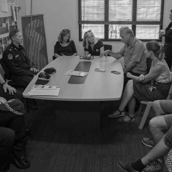 Key community stakeholders talked about the orgnisation of the NO MORE Campaign launch. Photo Credit: NT Police