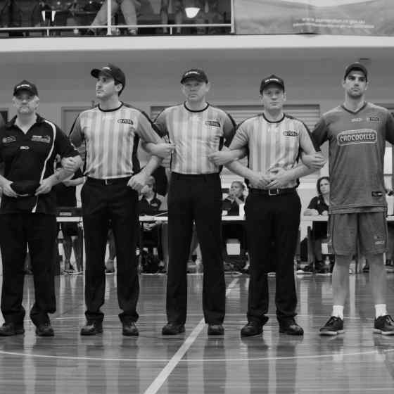 NBL Referees link up with NBL players and coaches to strongly say NO MORE to family violence.