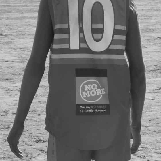 Ti Tree Roosters sporting the NO MORE Campaign logo on their new guernseys.